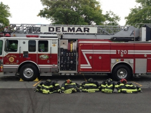 DELMAR FIRE DEPT BRINGS TRUCK 20 TO OWENS CORNING FAMILY SAFETY DAY