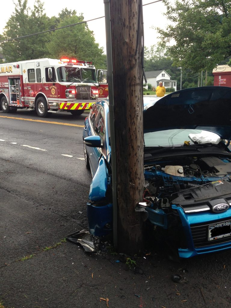 Delmar Fire Responds to Vehicle Into Pole