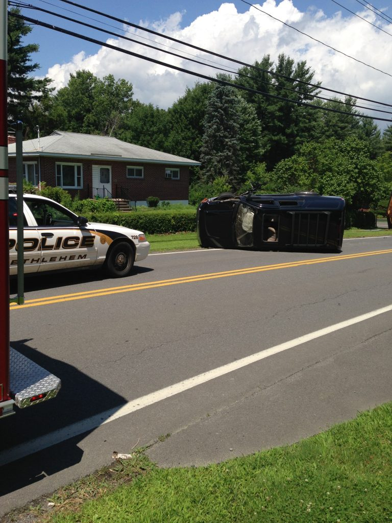 SUV Into Pole … Rolls Over – Delmar FD Responds