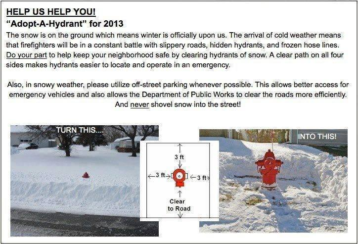 HELP US HELP YOU … Adopt-A- Hydrant
