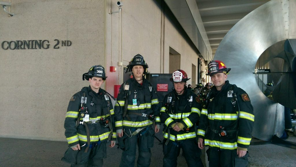 BREAKING NEWS … This Just In … DELMAR FIRE DEPT TAKES 1st PLACE In The Stair Climb For Cystic Fibrosis At The Corning Tower