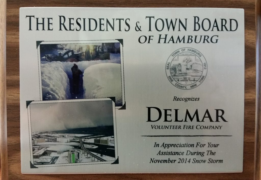 The Town of Hamburg Shows Appreciation With A Plaque & Thank You Letter To Delmar Fire Department For Their Assistance During The Nov. 2014 Snowstorm